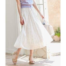 【洗える】刺繍風ミニフラワープリント スカート (アイボリー系)