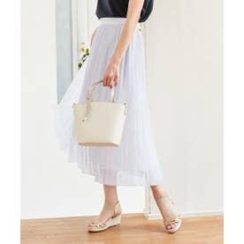 【洗える】刺繍風ミニフラワープリント スカート (ラベンダー系)
