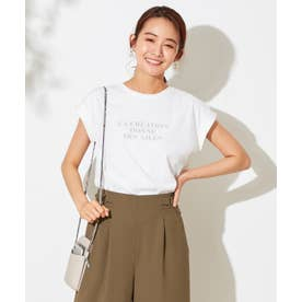 【UVケア】シアーチュールロゴ Tシャツ (オフホワイト)