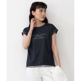 【UVケア】シアーチュールロゴ Tシャツ (チャコール)