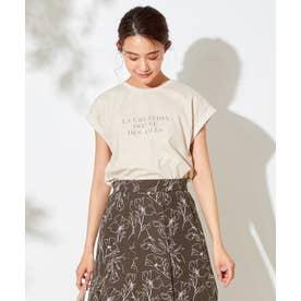 【UVケア】シアーチュールロゴ Tシャツ (ベージュ)