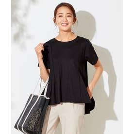 マチ付きフレアージャージー Tシャツ (ブラック)