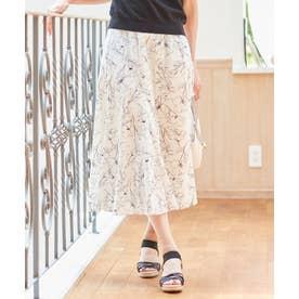 【洗える】マーメイドラインフラワー スカート (アイボリーベース)