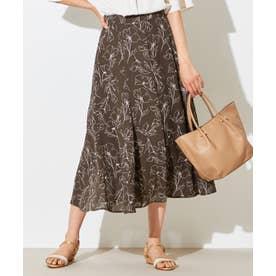 【洗える】マーメイドラインフラワー スカート (モカベース)