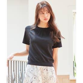 【洗える】ネックポイント ニット Tシャツ (ブラック)