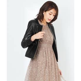 【本革】ノーカラーラムレザー ジャケット (ブラック)