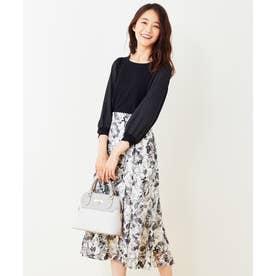 【2SET】サテンスリーブニット×フラワージャガードスカート セットアップ (モノトーン)