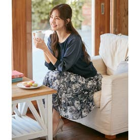 【2SET】サテンスリーブニット×フラワージャガードスカート セットアップ (ネイビー)