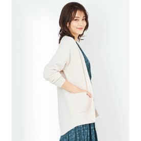 【洗える】ライトニット コーディガン (アイボリーベージュ)