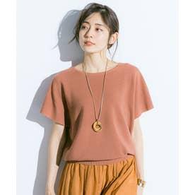 【洗える】ウォッシャブルガーターニットTシャツ (オレンジ系)