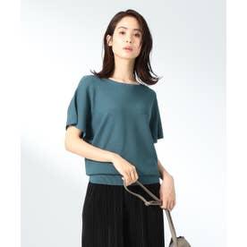 【洗える】ウォッシャブルガーターニットTシャツ (グリーン系)