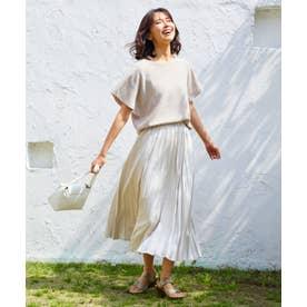 【洗える】ダブルプリーツ スカート (ベージュ系)