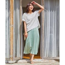 【洗える】ダブルプリーツ スカート (ライトグリーン系)