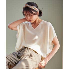 ウォッシャブルガーターニットTシャツ (ホワイト系)