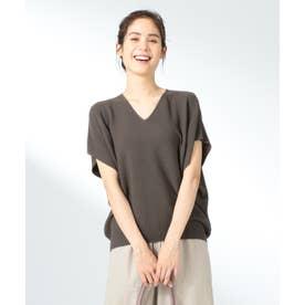 ウォッシャブルガーターニットTシャツ (ブラウン系)