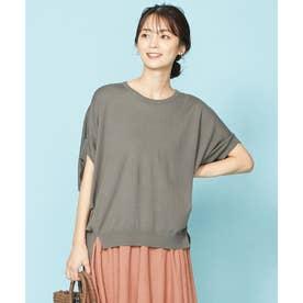 ウォッシャブルニットTシャツ (ブラウン系)