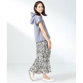 【定番人気】ドルマン半袖パーカ&フラワースカート セット (サックスブルー系5)