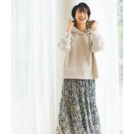 【洗える】ドルマンパーカーフラワースカート セット (ベージュ系5)