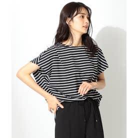 【大ヒット商品】【UVケア・接触冷感】タックTブラウス Tシャツ (ブラック系1)