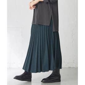 【ウエストゴム】ニットプリーツ スカート (グリーン)