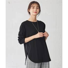 【洗える】USAコットンテール長袖 Tシャツ (ブラック)