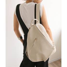 O-1/リュックリュックサックバックパックフェイクレザーバッグ (ホワイト【シボ】)