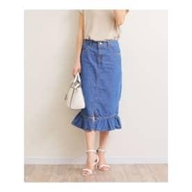 デニム裾フレアタイトスカート (ネイビー)