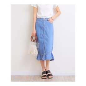 デニム裾フレアタイトスカート (ブルー)