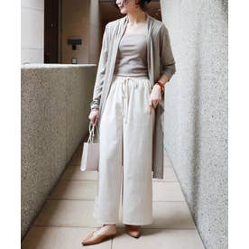 UVカット薄手長袖ロング丈トッパーカーディガン (グレージュ)