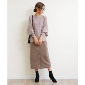 スエードポンチ前ボタンタイトスカート (チャコールブラウン)