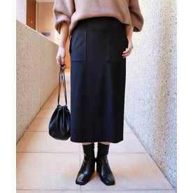 ストレッチベイカータイトスカート ウエストゴム (ブラック)