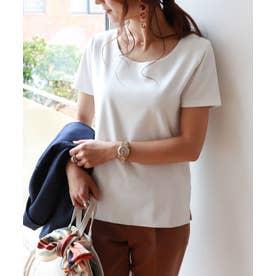 コットンクルーネック半袖ダブルフロントTシャツ (オフホワイト)