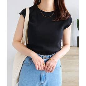 テレコリブクルーネックフレンチスリーブTシャツ (ブラック)