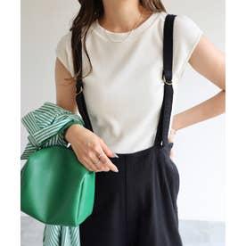 テレコリブクルーネックフレンチスリーブTシャツ (オフホワイト)