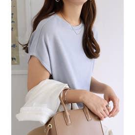 フレンチスリーブ半袖クルーネックニットソーTシャツ (グレーブルー)