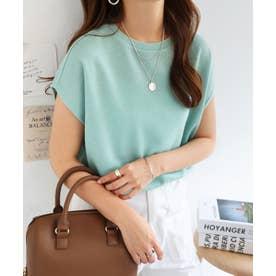 フレンチスリーブ半袖クルーネックニットソーTシャツ (ミント)