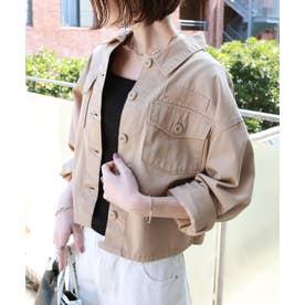 チノツイルオーバーサイズシャツジャケット (ベージュ)