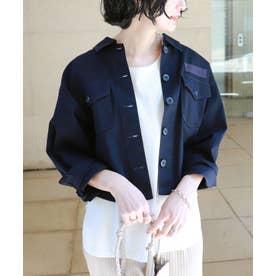 チノツイルオーバーサイズシャツジャケット (ネイビー)