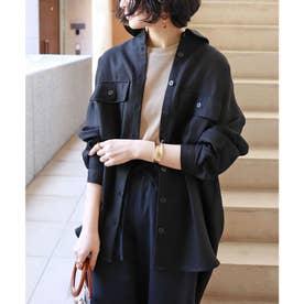 オーバーサイズ長袖シャツジャケット (ブラック)