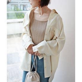 オーバーサイズ長袖シャツジャケット (オフホワイト)