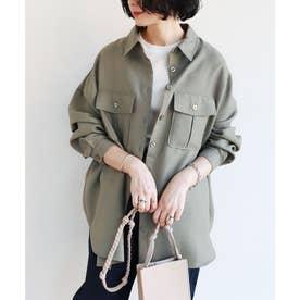 オーバーサイズ長袖シャツジャケット (カーキ)