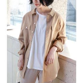 コットンリネン長袖オーバーサイズシャツジャケット (ベージュ)