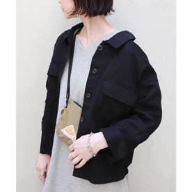 コットンツイル背中ボタンオーバーサイズシャツジャケット (ブラック)