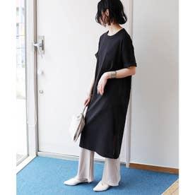 コットン半袖オーバーサイズTシャツワンピース (ブラック)