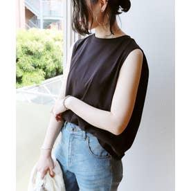 USAコットンノースリーブデザインTシャツ (ブラック)