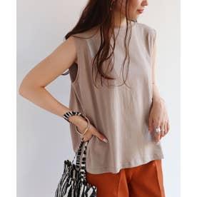 USAコットンノースリーブデザインTシャツ (グレージュ)