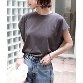 フレンチスリーブ脇見え防止デザインTシャツ (チャコールグレー)