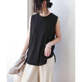 ノースリーブ裾ラウンドTシャツ (ブラック)