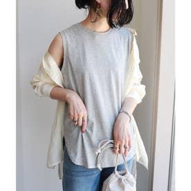 ノースリーブ裾ラウンドTシャツ (グレー)