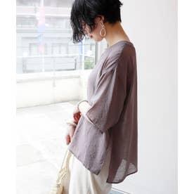 シアー半袖オーバーサイズTシャツ ブラウス (ラベンダーグレー)